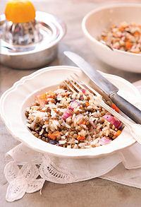 Salade de lentilles et riz aux algues