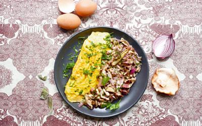 Omelette aux shiitakes par Amandine Geers et Olivier Degorce